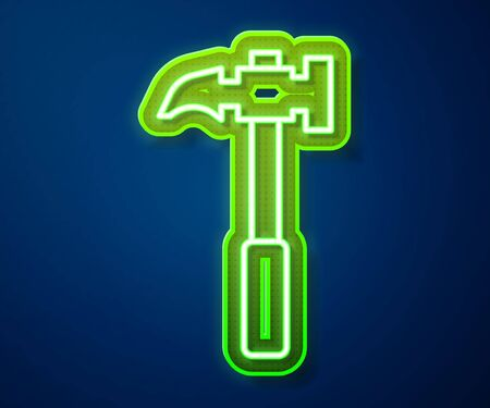 Glowing neon line Claw hammer icon isolated on blue background. Carpenter hammer. Tool for repair. Vector Illustration