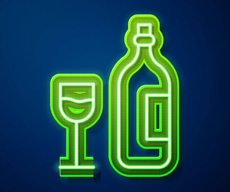 Glowing neon line Wine bottle with wine glass icon isolated on blue background. Happy Easter. Vector Illustration