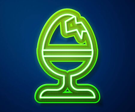 Glowing neon line Chicken egg on a stand icon isolated on blue background. Happy Easter. Vector Illustration