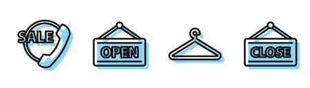 Set line Hanger wardrobe, Telephone 24 hours support, Hanging sign with Open and Hanging sign with Closed icon. Vector Ilustração