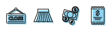 Set line Money cash and coin, Hanging sign with Closed, Skirt and Paper check and financial check icon. Vector Illustration