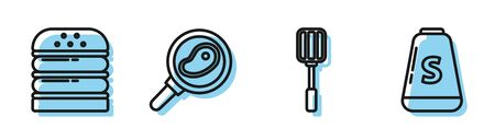 Set line Spatula, Burger, Steak meat in frying pan and Salt icon. Vector