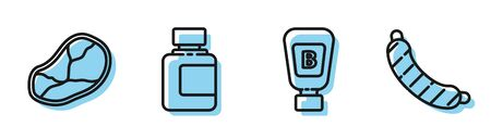 Set line Sauce bottle, Steak meat, Sauce bottle and Sausage icon. Vector