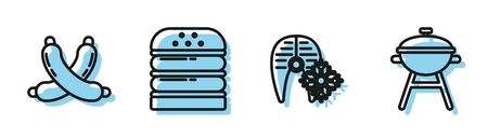 Set line Fresh frozen fish steak, Crossed sausage, Burger and Barbecue grill icon. Vector