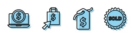 Set line Price tag with dollar, Laptop with dollar, Shoping bag and dollar and Sold label icon. Vector Иллюстрация