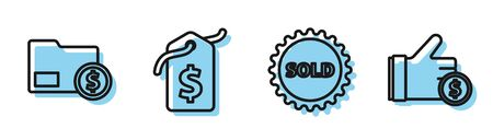 Set line Sold label, Envelope with coin dollar, Price tag with dollar and Hand holding coin icon. Vector Иллюстрация