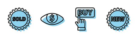 Set line Buy button, Sold label, Eye with dollar and Price tag with New icon. Vector