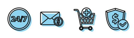Set line Add to Shopping cart, Clock 24 hours, Envelope with coin dollar and Shield with dollar icon. Vector
