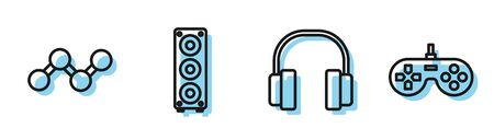 Set line Headphones, Share, Stereo speaker and Gamepad icon. Vector