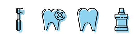 Set line Tooth, Toothbrush, Tooth with caries and Mouthwash plastic bottle icon. Vector