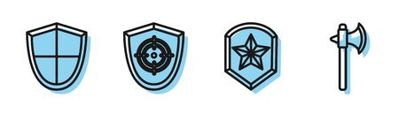 Set line Police badge, Shield, Target sport and Medieval axe icon. Vector