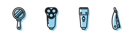 Set line Electrical hair clipper or shaver, Hand mirror, Electric razor blade for men and Straight razor icon. Vector