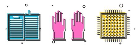 Set Open science book, Rubber gloves and Processor icon. Vector