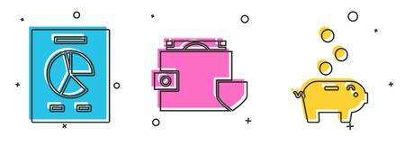 Set Document with graph chart, Wallet and money with shield and Piggy bank with coin icon. Vector Illustration