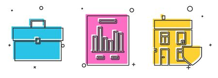Set Briefcase, Document with graph chart and House with shield icon. Vector
