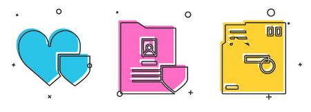 Set Heart with shield, Document with shield and Ordered envelope icon. Vector
