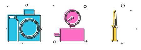 Set Photo camera for diver, Gauge scale and Army knife icon. Vector 向量圖像