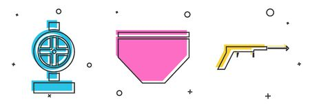 Set Industry metallic pipes and valve, Swimming trunks and Fishing harpoon icon. Vector