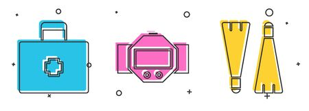 Set First aid kit, Diving watch and Rubber flippers for swimming icon. Vector 일러스트