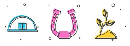 Set Hangar, Horseshoe and Sprout icon. Vector 向量圖像