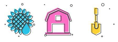 Set Sunflower, Farm House concept and Shovel icon. Vector