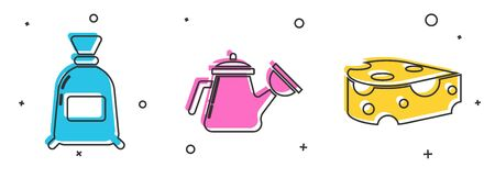 Set Bag of flour, Watering can and Cheese icon. Vector
