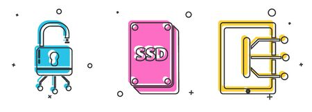 Set Lock on digital circuit board, SSD card and Tablet icon. Vector