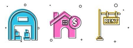 Set Warehouse, House with dollar symbol and Hanging sign with text Rent icon. Vector