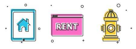 Set Tablet and smart home, Hanging sign with text Online Rent and Fire hydrant icon. Vector