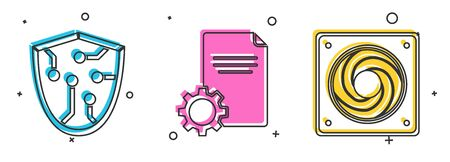 Set Cyber security, File document and Computer cooler icon. Vector
