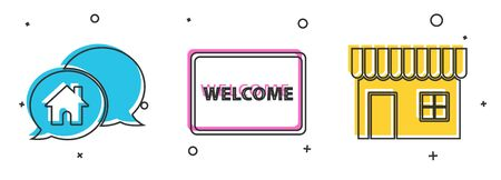 Set House building in speech bubble, Doormat with the text Welcome and Shopping building or market store icon. Vector