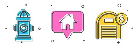Set Fire hydrant, Map pointer with house and Warehouse with dollar symbol icon. Vector