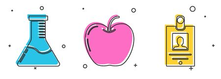 Set Test tube and flask chemical laboratory, Apple and Identification badge icon. Vector