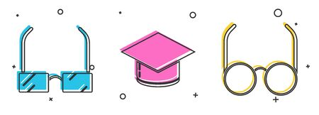 Set Glasses, Graduation cap and Glasses icon. Vector