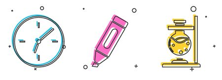 Set Clock, Marker pen and Glass test tube flask on fire icon. Vector