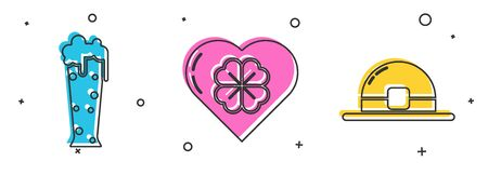 Set Glass of beer, Heart with four leaf clover and Leprechaun hat icon. Vector