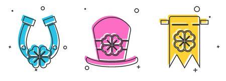 Set Horseshoe with four leaf clover, Leprechaun hat and four leaf clover and Four leaf clover and party pennant icon. Vector Zdjęcie Seryjne - 143231372
