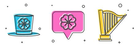 Set Leprechaun hat and four leaf clover, Four leaf clover in speech bubble and Harp icon. Vector Ilustracja