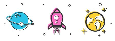 Set Planet, Rocket ship with fire and Earth globe icon. Vector
