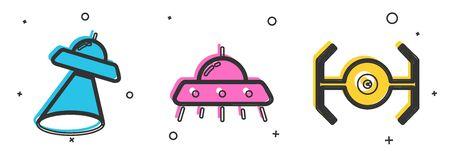 Set UFO flying spaceship, UFO flying spaceship and Cosmic ship icon. Vector