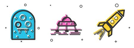 Set Alien, Mars moonwalker and Rocket ship with fire icon. Vector