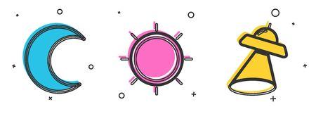 Set Moon and stars, Sun and UFO flying spaceship icon. Vector Ilustração