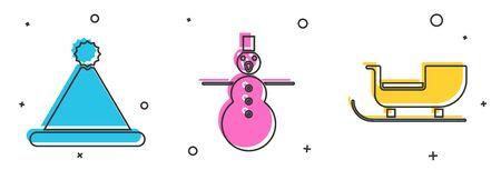 Set Christmas Santa Claus hat, Christmas snowman and Christmas santa claus sleigh icon. Vector