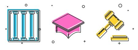 Set Prison window, Graduation cap and Judge gavel icon. Vector Illustration