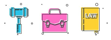 Set Judge gavel, Briefcase and Law book icon. Vector