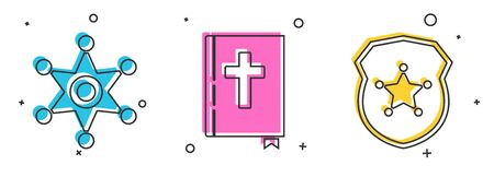 Set Hexagram sheriff, Holy bible book and Police badge icon. Vector Ilustração