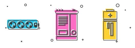 Set Electric extension cord, Car battery and Battery icon. Vector