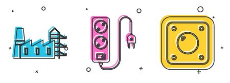 Set Power station plant and factory, Electric extension cord and Electric light switch icon. Vector