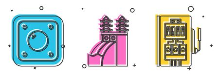 Set Electric light switch, Nuclear power plant and Electrical panel icon. Vector Stock Illustratie