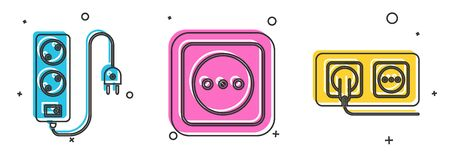 Set Electric extension cord, Electrical outlet and Electrical outlet icon. Vector Stock Illustratie